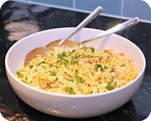 So Tasty So Yummy: Lobster Linguine with Saffron Cream Sauce