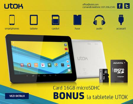 Card 16GB microSDHC BONUS la tabletele UTOK!