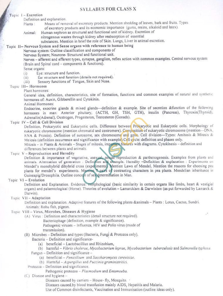 WB Board Syllabus for Madhyamik (Class 10) - Life Science