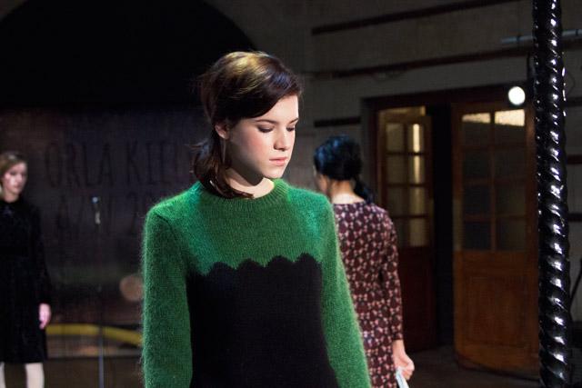 Orla Kiely AW14 London Fashion Week presentation green knitwear