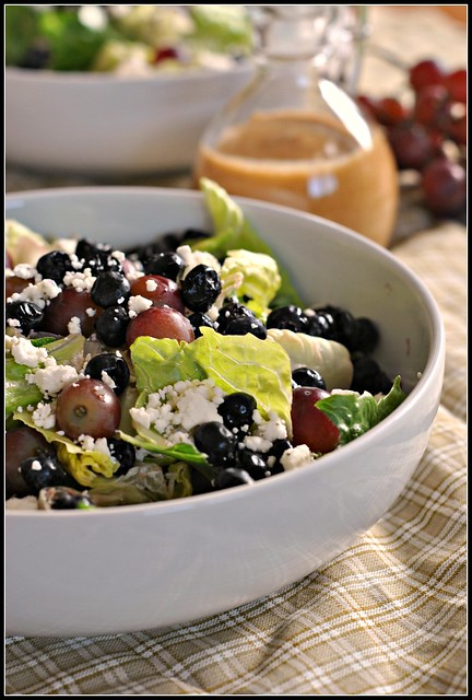 Salad with Blueberries, Grapes, and Almond Honey Mustard Dressing 4