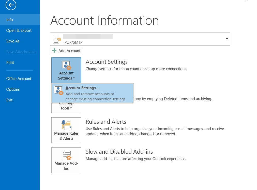 MS Outlook 2013 Account Settings Page