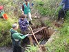 Removing grates from a salmon stream
