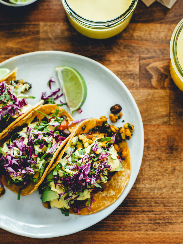 Black bean + tempeh tacos with cashew cheese sauce