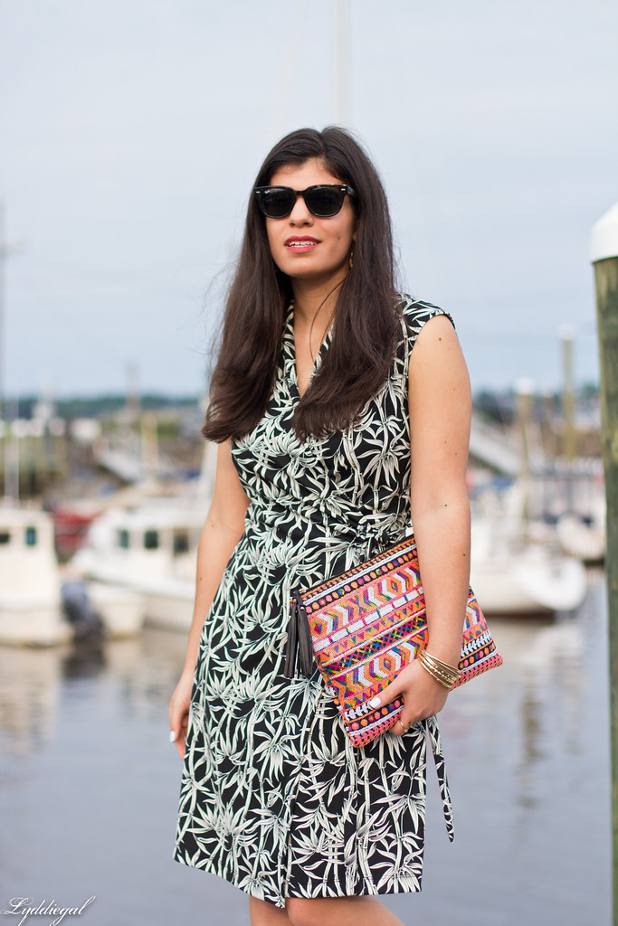 bamboo print wrap dress, sequined aztec clutch.jpg
