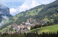 Wengen, Switzerland - View of village from the train on the 19th September 2016