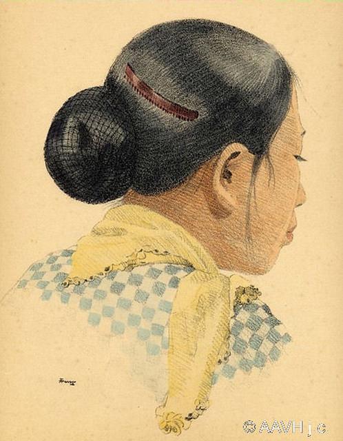 AP2610-Schneyder-Geuthner-T2P1 Cochinchine, 1935 – Coiffure moderne de femme cochinchinoise