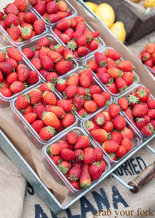 strawberry punnets at the grounds of alexandria markets