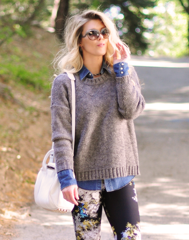 blue and gray and black and white outfit-spring summer style-wang