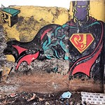 Indian Superman? street art at Mahim railway station en route to Dharavi #Mumbai