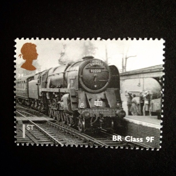 Day 14: black and white #train #vintage #stamp #postagestamp #postalsociety #psjune #challenge #scavengerhunt #blackandwhite #british