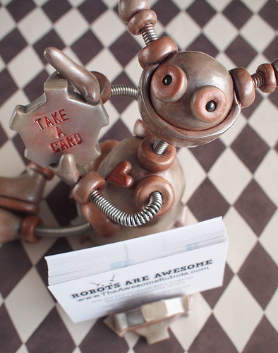 Robot Business Card Holder - Rustic Red and Silver Shaz by HerArtSheLoves