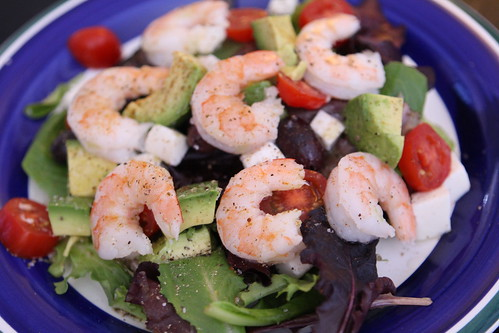Mixed Greens with Avocado, Mozzarella, Shrimp, Tomato, Lemon, and Olive Oil