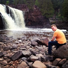 Look! I'm sitting in front of a waterfall! Golly! #gooseberryfalls #northshore