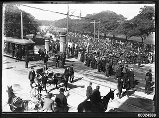 Australian troops marching on Randwick Road in Sydney