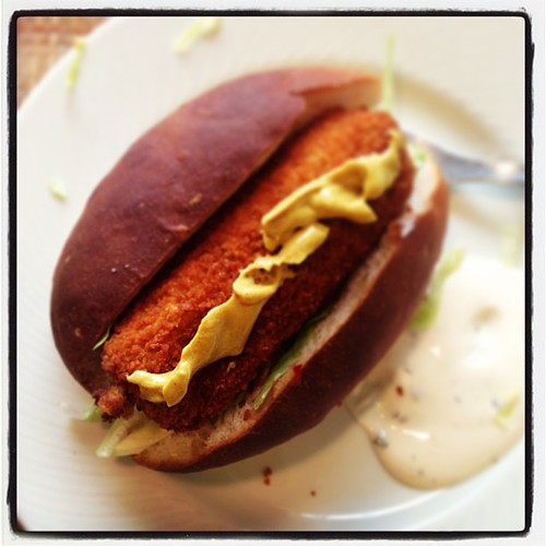 #croquette roll. The #dutch version of the #lobster roll.....not! But I love it. Crusty croquette with #hot mashed potatoes and beef, smeared with #mustard and snug in a soft #bun. Yum