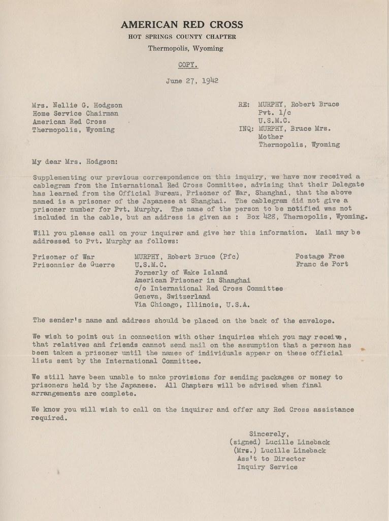 Letter, American Red Cross, 27 June 1942