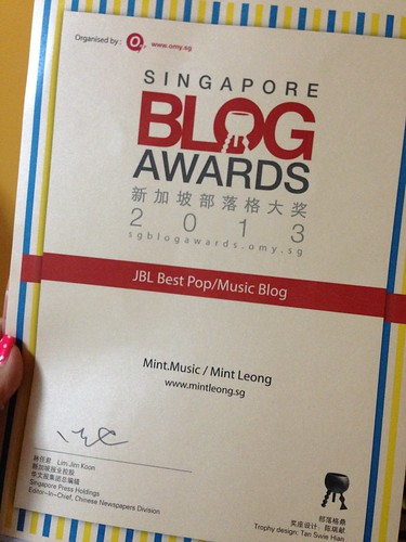 OMYSBA2013 Best Music Blog Award Certificate