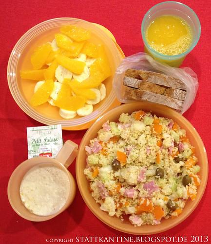 Stattkantine 7. März 2013 - Couscous-Salat, Vanillepudding, Obstsalat
