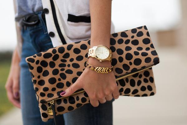 clare vivier clutch, michael kors watch, vince camuto bracelet, san diego, los angeles, fashion blogger, style