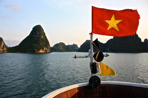 Vietnam Flag. Vietnam Sunset.