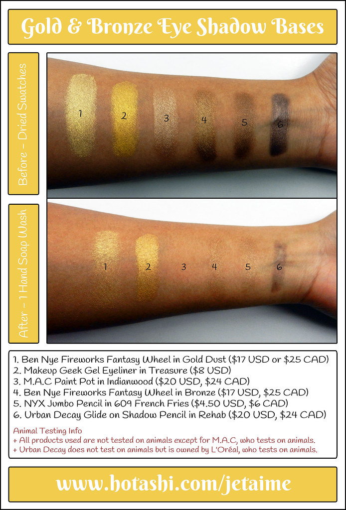 Gold and Bronze Eye Shadow Bases