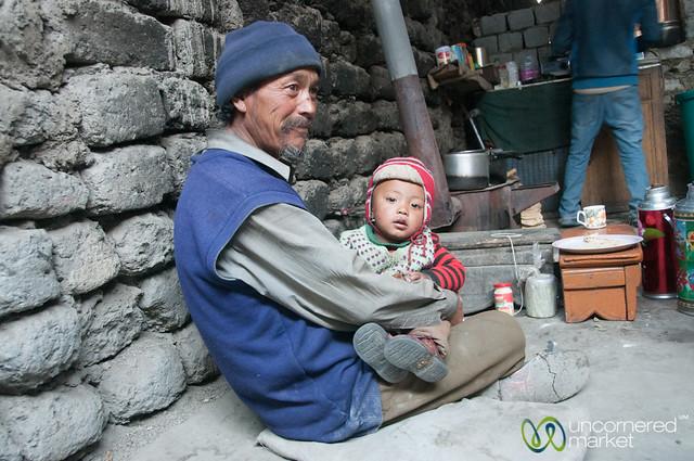 Grandfather Takes Care of Baby - Skyu, Ladakh