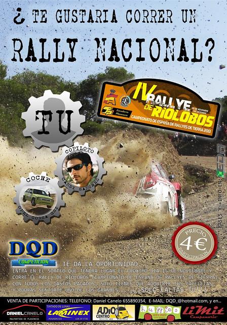 Se busca piloto para correr el nacional de tierra gratis, interesados probar suerte. IV Rallye de Tierra de Villalobos 2013
