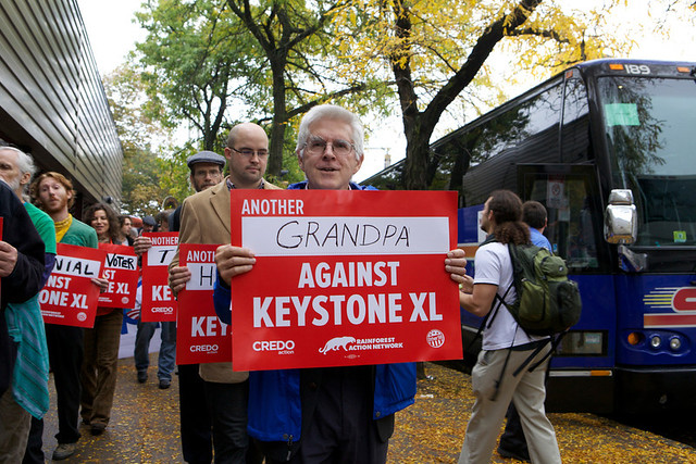 Another Grandpa protests Keystone XL at the Boston State Department offices. Photo by Kayana Szymczak