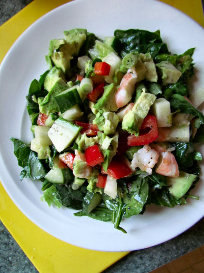 Paleo Low Carb Shrimp Ceviche on Salad
