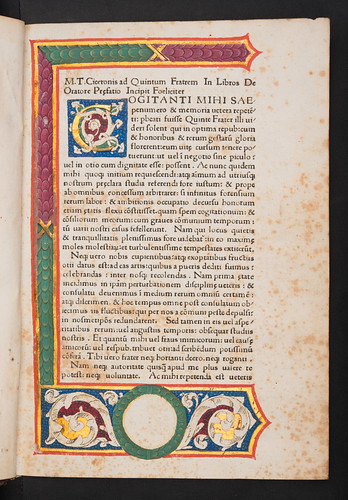 Decorated and illuminated page in Cicero, Marcus Tullius: De oratore