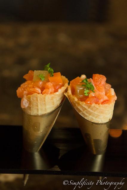 Salmon Tartar in waffle cone