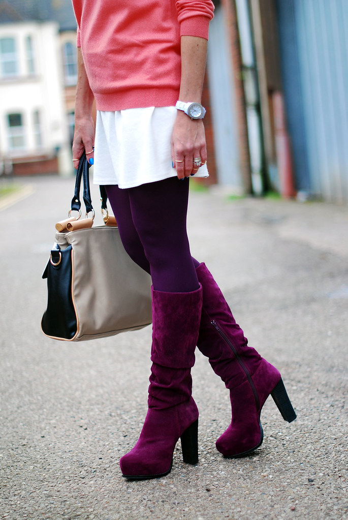 Coral sweater, white mini skirt & plum boots
