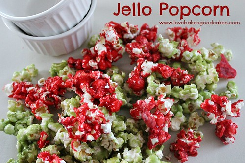 Jello Popcorn red and green with two white bowls.