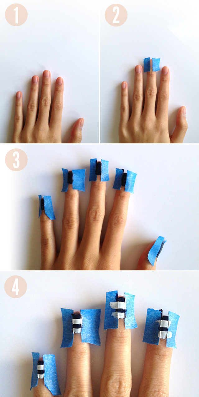striped nails, nail tutorial, pinterest nails, naked nails, opi, essie, forever 21 nail polish