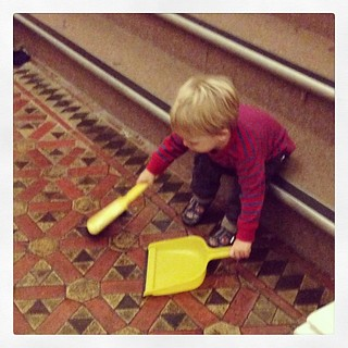 He found the youth hostel dustpan and brush and his week was made :)