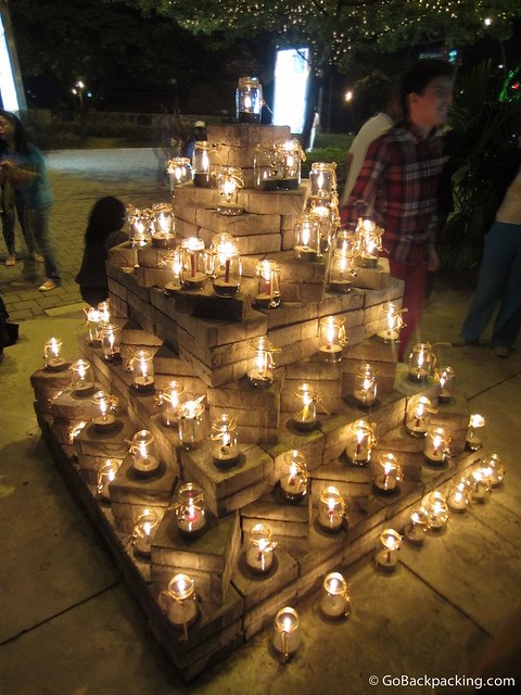 A pyramid of candles in Ciudad del Rio