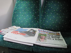 Newspapers left on the train IMG_3768