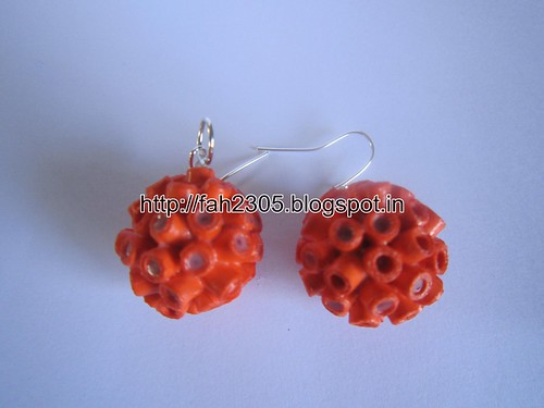 Handmade Jewelry - Paper Quilling Globle Earrings (Orange - V) (2) by fah2305