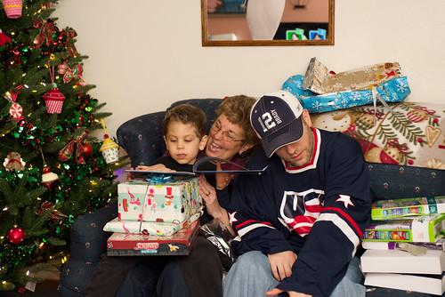 Noah opening his presents.
