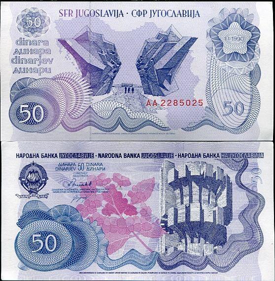 50 Dinárov Juhoslávia 1990, Pick 101