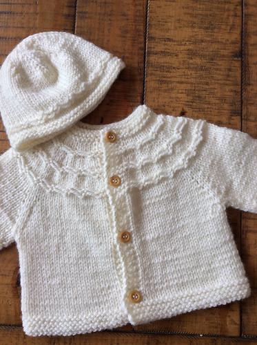 Slip stitch yoked baby cardigan