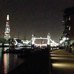 Shard and Tower bridge at night.