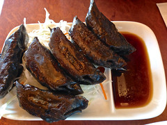 Squid ink gyoza special at Momotaro Rahmen in Rich…