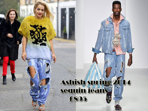 Boyfriend distressed jeans: Ashish all-over sequin ripped jeans