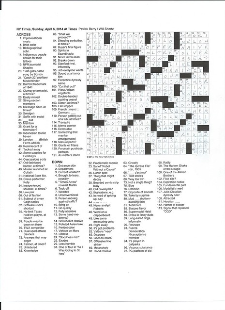 NYT Sunday Puzzle - April 6, 2014