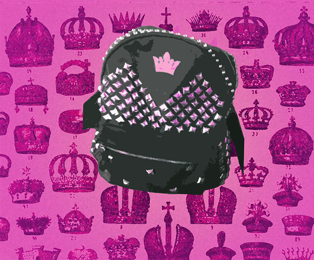 studded princess backpack, pink tiara background
