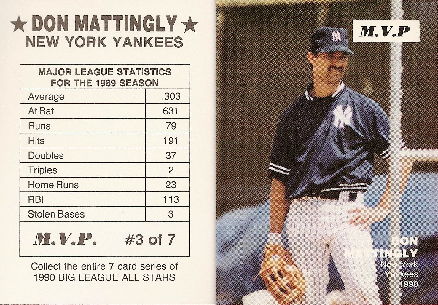 1990 Big League All-Stars MVP (white box MVP)