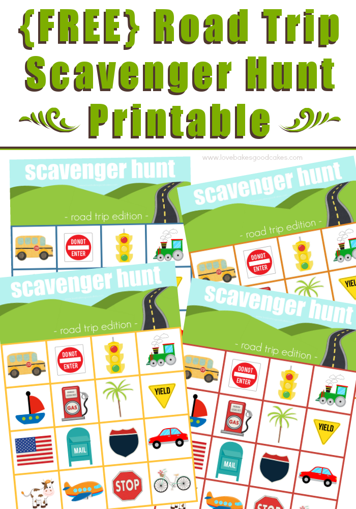 Road Trip Scavenger Hunt Printable collage.
