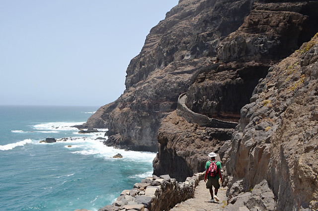 Nicolai on the path, Cruzinha to Ponta do Sol route, Santo Antao, Cape Verde